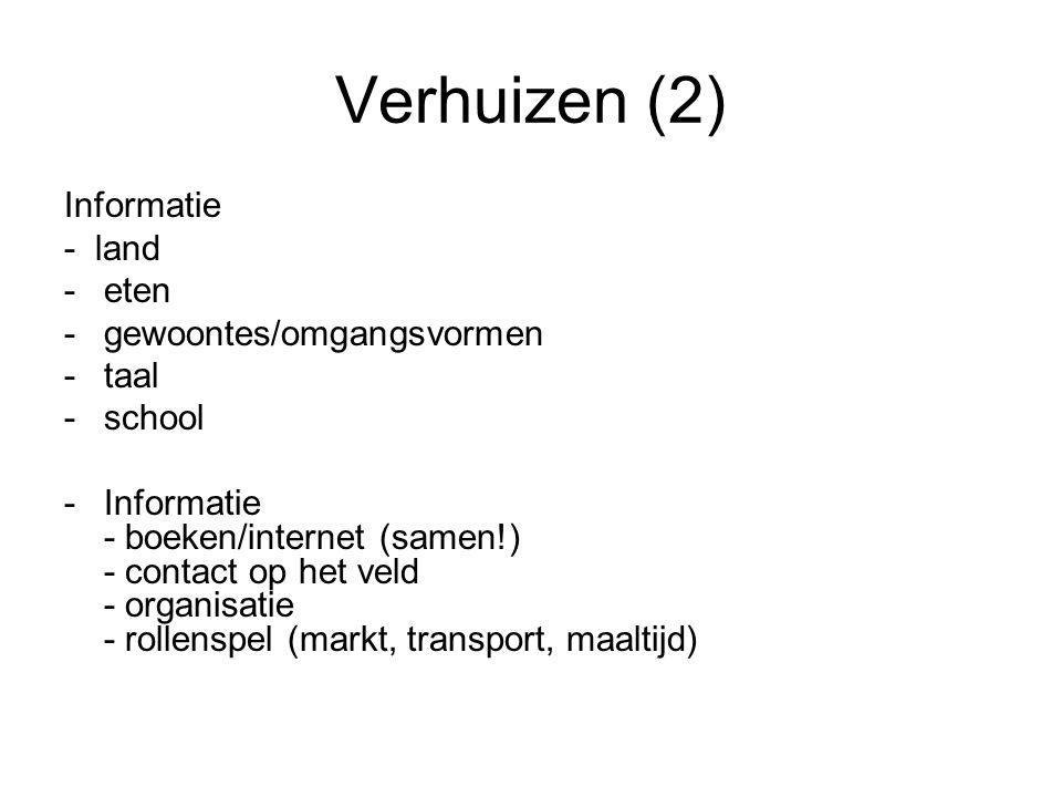 Verhuizen (2) Informatie - land -eten -gewoontes/omgangsvormen -taal -school -Informatie - boeken/internet (samen!) - contact op het veld - organisatie - rollenspel (markt, transport, maaltijd)