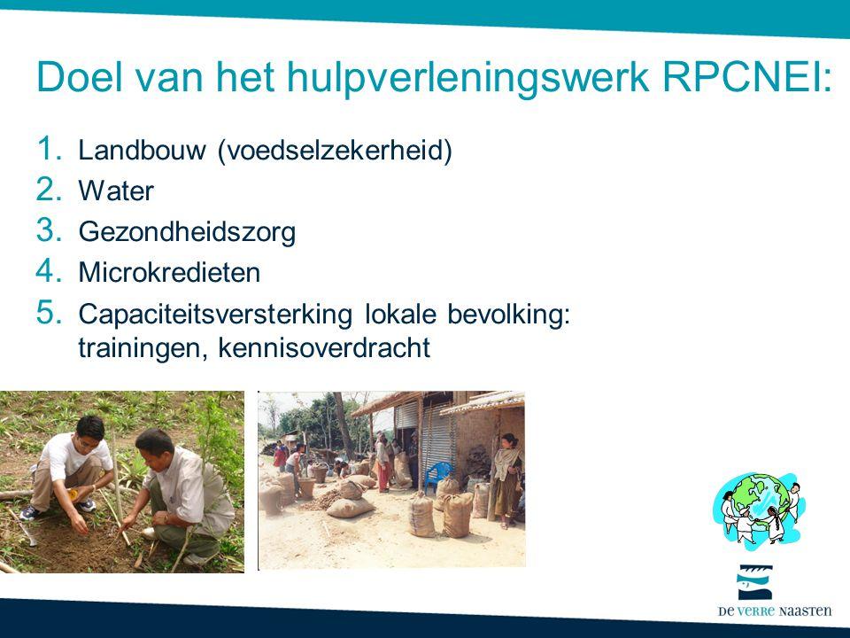 Doel van het hulpverleningswerk RPCNEI: 1. Landbouw (voedselzekerheid) 2. Water 3. Gezondheidszorg 4. Microkredieten 5. Capaciteitsversterking lokale
