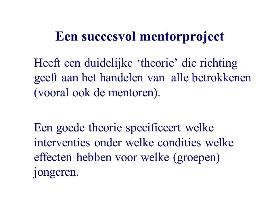 Een succesvol mentorproject Heeft een duidelijke 'theorie' die richting geeft aan het handelen van alle betrokkenen (vooral ook de mentoren). Een goed