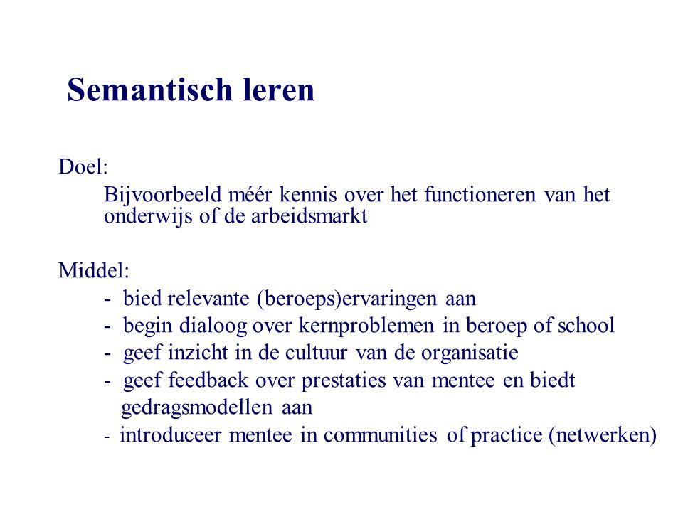Semantisch leren Doel: Bijvoorbeeld méér kennis over het functioneren van het onderwijs of de arbeidsmarkt Middel: - bied relevante (beroeps)ervaringe