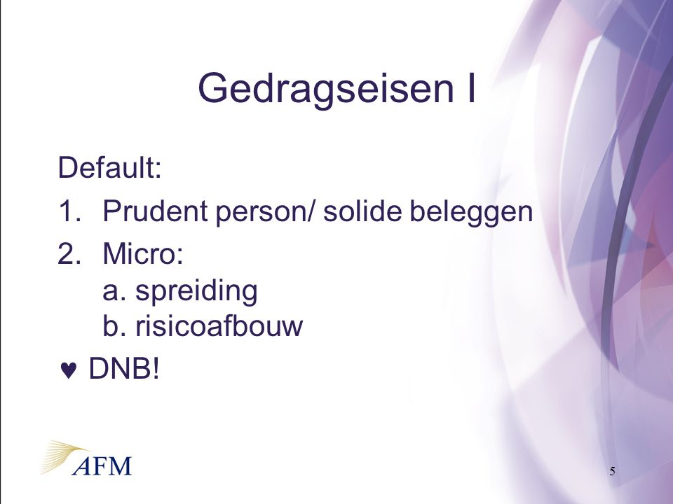 5 Gedragseisen I Default: 1.Prudent person/ solide beleggen 2.Micro: a.