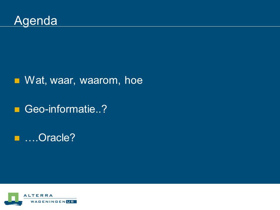 Agenda  Wat, waar, waarom, hoe  Geo-informatie..  ….Oracle
