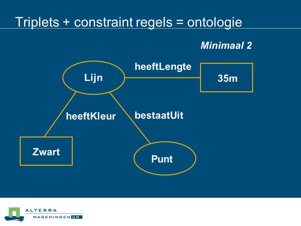 Triplets + constraint regels = ontologie Lijn heeftLengte 35m heeftKleur Zwart Punt bestaatUit Minimaal 2