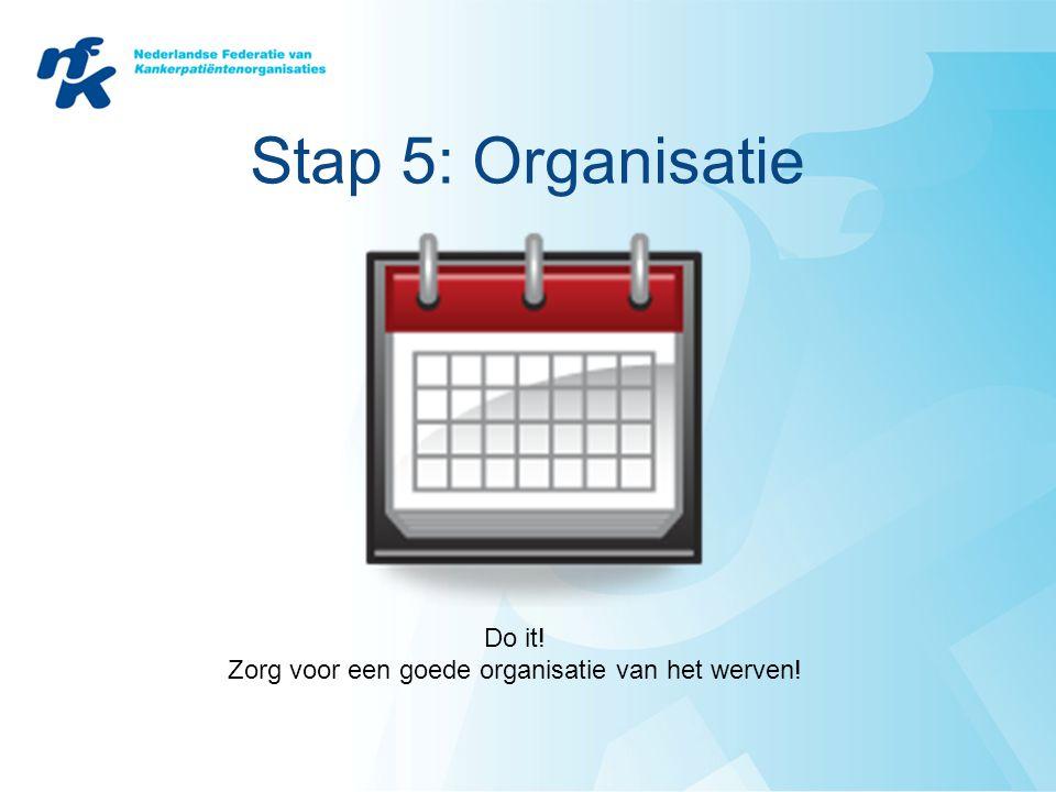 Stap 5: Organisatie Do it! Zorg voor een goede organisatie van het werven!