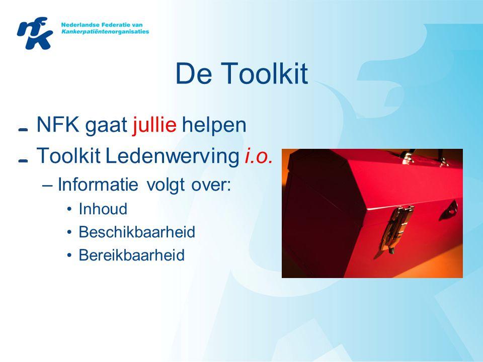 De Toolkit NFK gaat jullie helpen Toolkit Ledenwerving i.o. –Informatie volgt over: •Inhoud •Beschikbaarheid •Bereikbaarheid