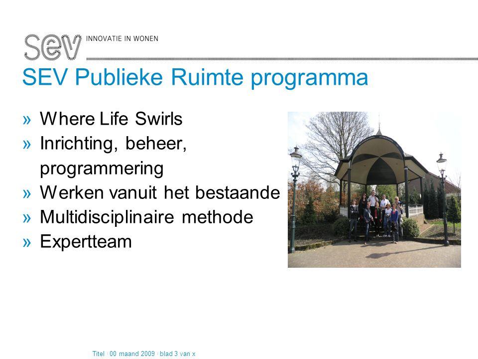 Pagina 2 van 4 SEV Publieke Ruimte programma »Where Life Swirls »Inrichting, beheer, programmering »Werken vanuit het bestaande »Multidisciplinaire me