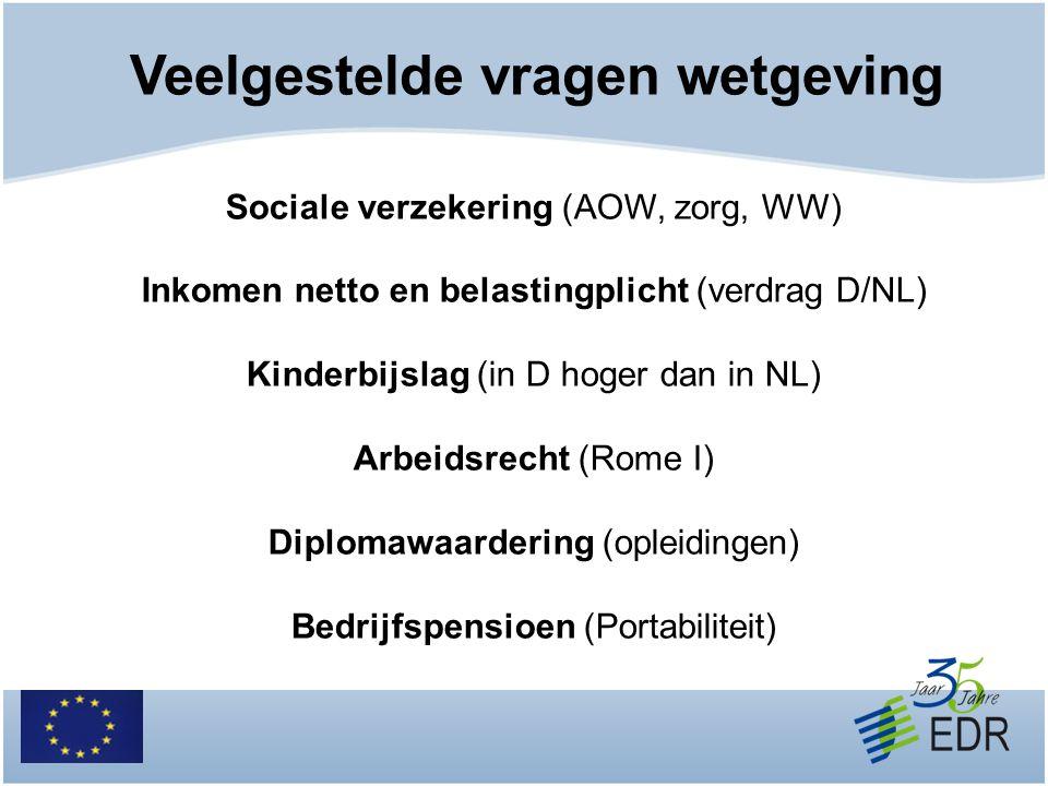 Veelgestelde vragen wetgeving Sociale verzekering (AOW, zorg, WW) Inkomen netto en belastingplicht (verdrag D/NL) Kinderbijslag (in D hoger dan in NL)