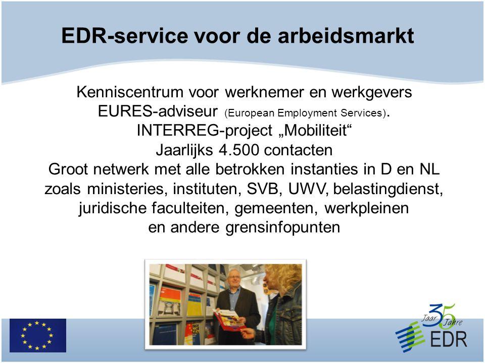"""EDR-service voor de arbeidsmarkt Kenniscentrum voor werknemer en werkgevers EURES-adviseur (European Employment Services). INTERREG-project """"Mobilitei"""