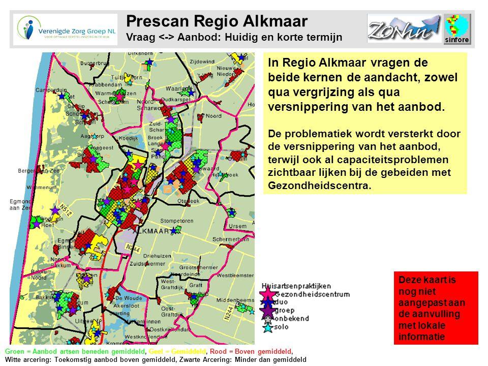 Prescan Regio Alkmaar Vraag Aanbod: Huidig en korte termijn In Regio Alkmaar vragen de beide kernen de aandacht, zowel qua vergrijzing als qua versnippering van het aanbod.