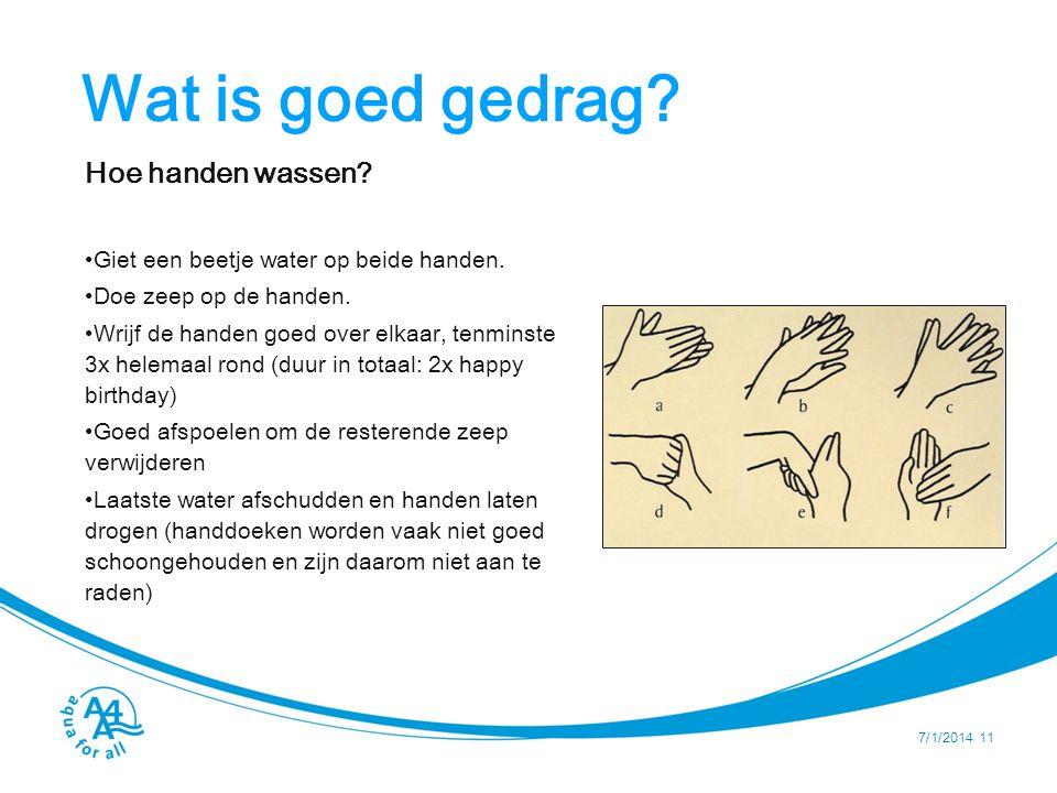 Wat is goed gedrag.Hoe handen wassen. •Giet een beetje water op beide handen.