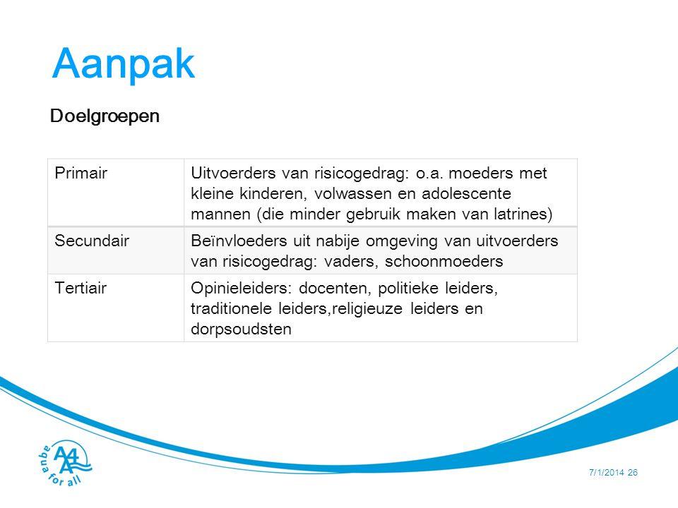Aanpak Doelgroepen 7/1/2014 26 PrimairUitvoerders van risicogedrag: o.a.