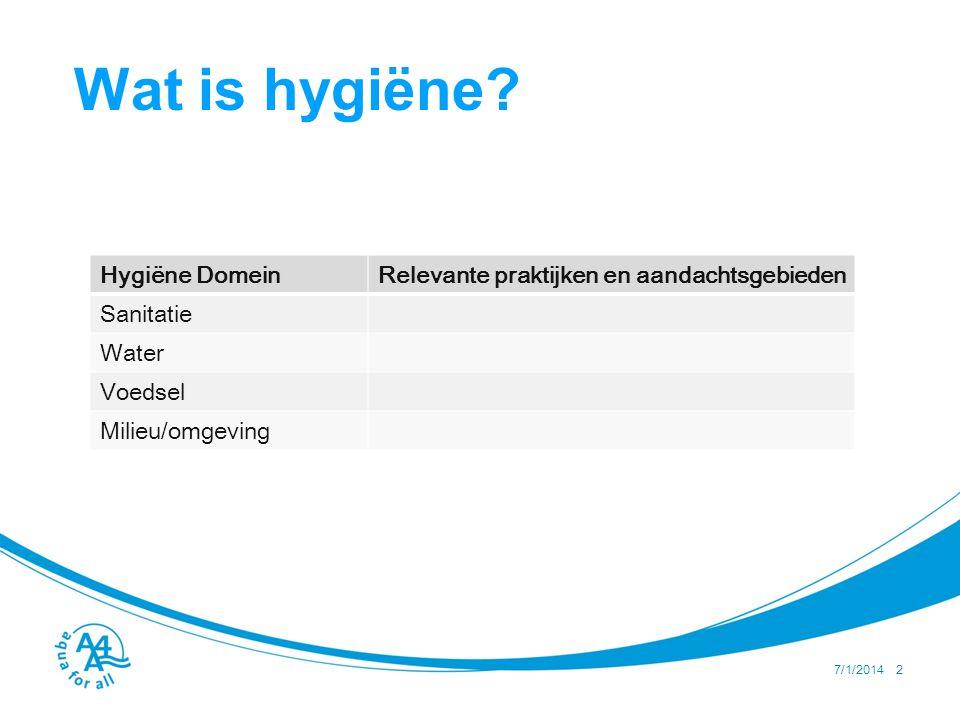 Inventarisatie en aanpak 4 stappen voor het opzetten van een hygieneprogramma: •Vaststellen, met represenatieve vertegenwoordiging van de bevolking, wat de huidige omstandigheden en gedragingen zijn en welke daarvan risicovol zijn.