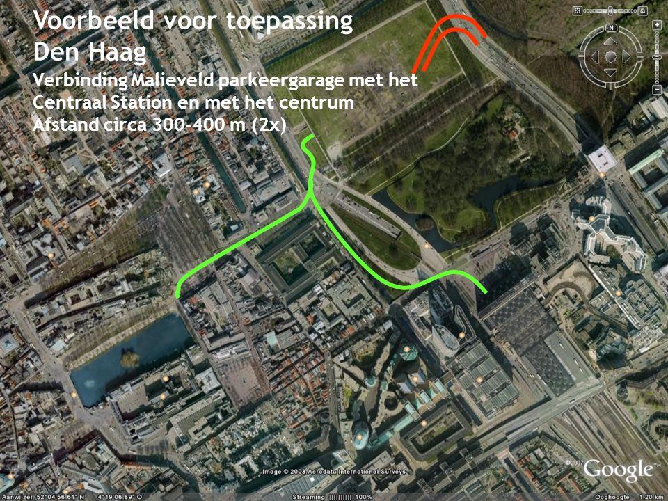 Hans van Leeuwen, 14 Voorbeeld voor toepassing Den Haag Verbinding Malieveld parkeergarage met het Centraal Station en met het centrum Afstand circa 300-400 m (2x)