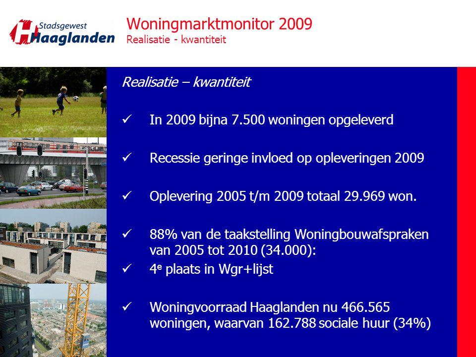 Woningmarktmonitor 2009 Realisatie - kwaliteit Realisatie – kwaliteit  Verhouding koop – huur toevoegingen 62% - 38%  Verhouding koop/huur voorraad totaal 54% - 42% (4% onbekend)  30% sociaal BLS-afspraken gehaald (2005 t/m 2009)  Vinex 40% / niet-Vinex 60%  Ambities woonvisie en productie lopen uiteen qua typen