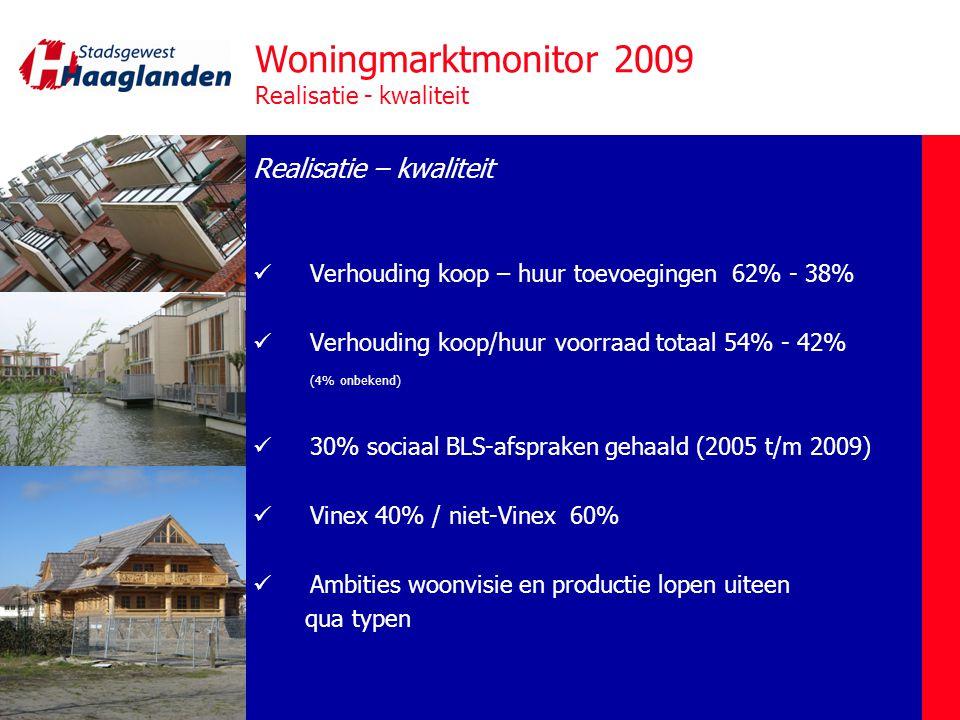 Woningmarktmonitor 2009 Trends / Vooruitblik Trends – vooruitblik  Gereedgekomen woningen 2010 tot heden: 449 (!) (CBS, 28-6-10)  Onvermijdelijk daling productie 2011-2012  Uitfasering 12.000 woningen (26%) naar 2015 en later  Accent op bouw in bestaand stedelijk gebied: langere, complexere voorbereidingstrajecten  Trend meer renovatie i.p.v.