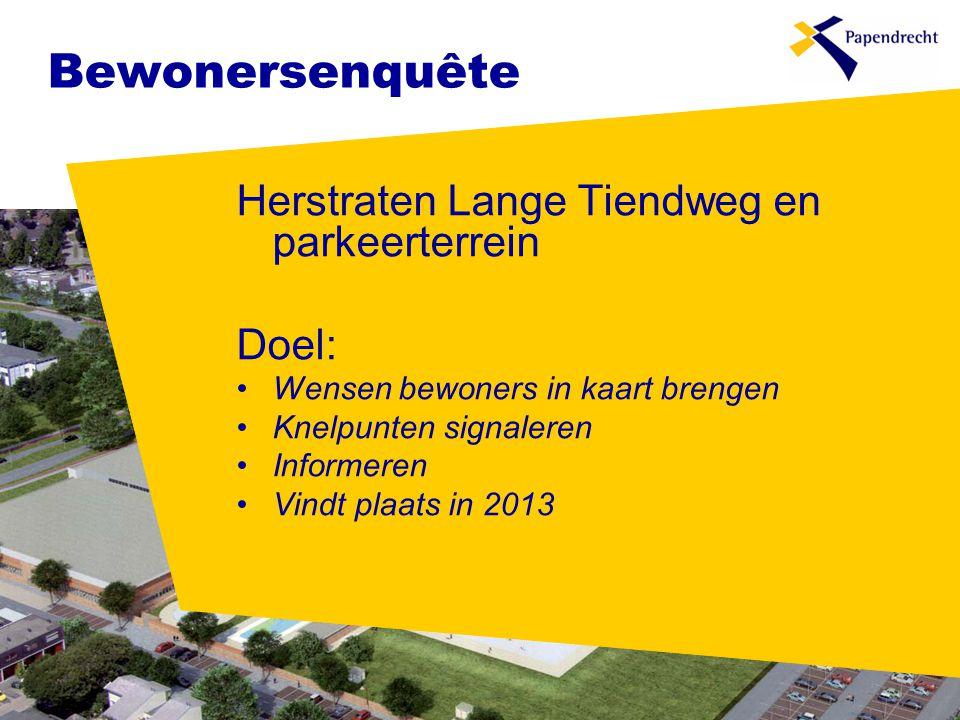 Bewonersenquête Herstraten Lange Tiendweg en parkeerterrein Doel: •Wensen bewoners in kaart brengen •Knelpunten signaleren •Informeren •Vindt plaats in 2013