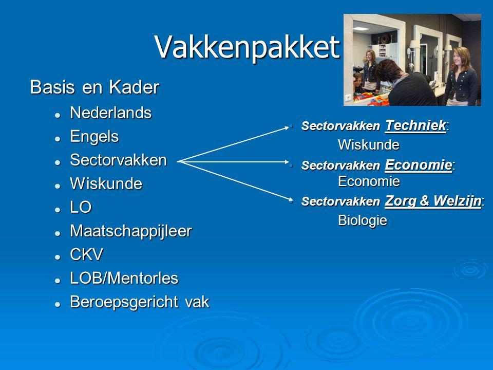 Vakkenpakket Basis en Kader  Nederlands  Engels  Sectorvakken  Wiskunde  LO  Maatschappijleer  CKV  LOB/Mentorles  Beroepsgericht vak •Sector