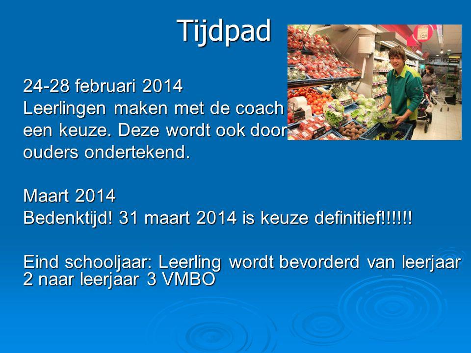 Tijdpad 24-28 februari 2014 Leerlingen maken met de coach een keuze. Deze wordt ook door ouders ondertekend. Maart 2014 Bedenktijd! 31 maart 2014 is k