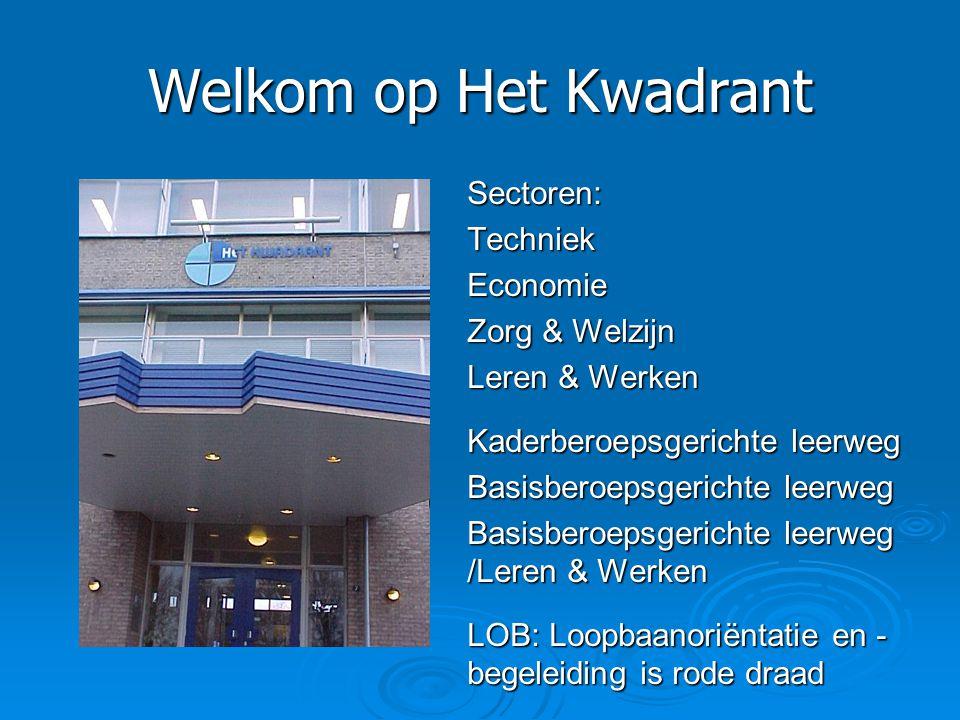 Welkom op Het Kwadrant Sectoren:TechniekEconomie Zorg & Welzijn Leren & Werken Kaderberoepsgerichte leerweg Basisberoepsgerichte leerweg Basisberoepsg