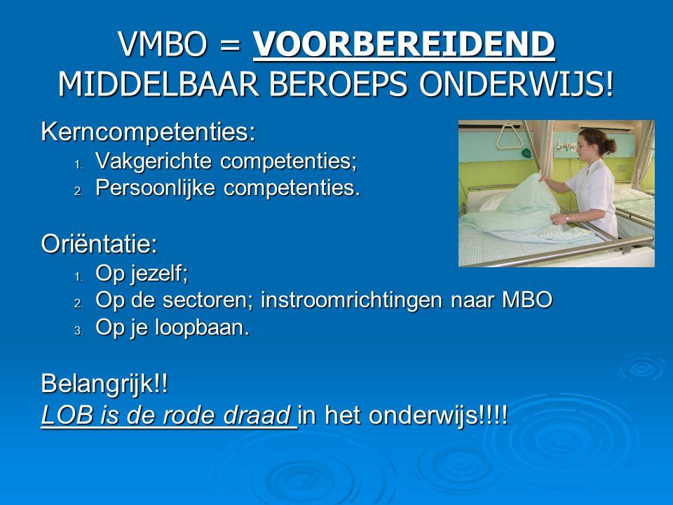 VMBO = VOORBEREIDEND MIDDELBAAR BEROEPS ONDERWIJS! Kerncompetenties: 1. Vakgerichte competenties; 2. Persoonlijke competenties. Oriëntatie: 1. Op jeze