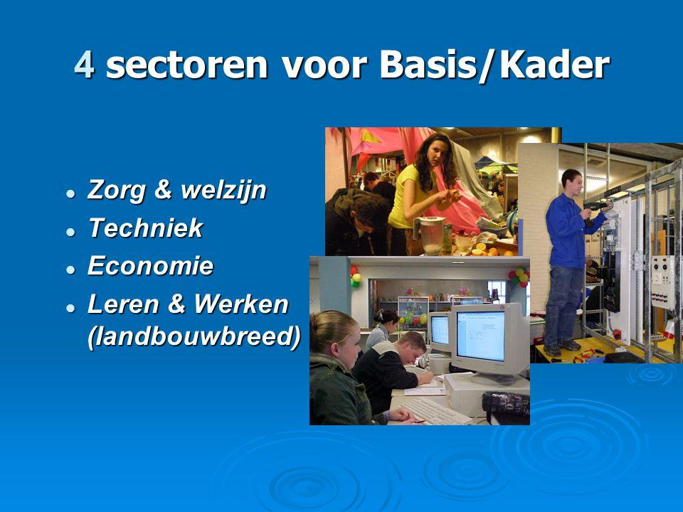 4 sectoren voor Basis/Kader  Zorg & welzijn  Techniek  Economie  Leren & Werken (landbouwbreed)