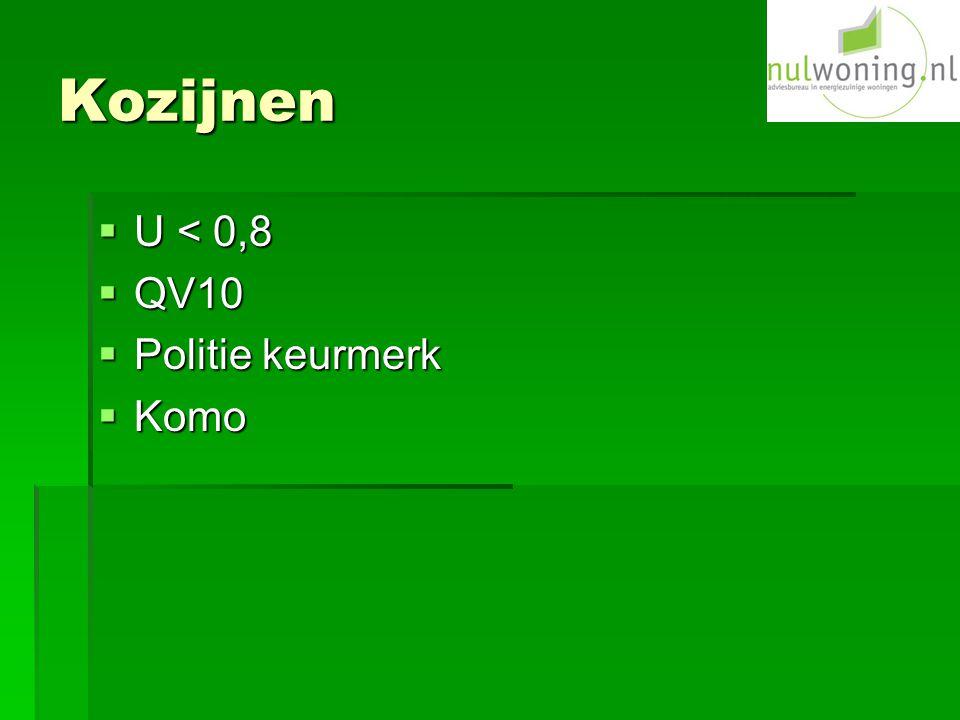 Kozijnen  U < 0,8  QV10  Politie keurmerk  Komo