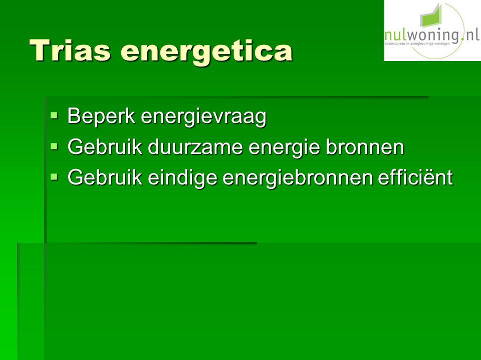 Trias energetica  Beperk energievraag  Gebruik duurzame energie bronnen  Gebruik eindige energiebronnen efficiënt
