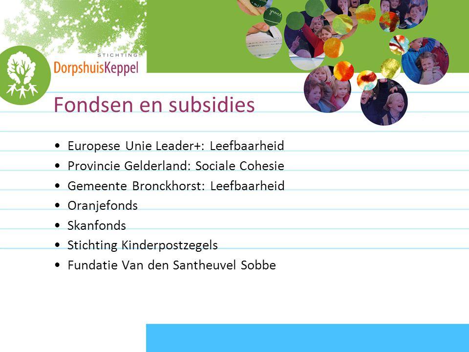 Fondsen en subsidies •Europese Unie Leader+: Leefbaarheid •Provincie Gelderland: Sociale Cohesie •Gemeente Bronckhorst: Leefbaarheid •Oranjefonds •Skanfonds •Stichting Kinderpostzegels •Fundatie Van den Santheuvel Sobbe