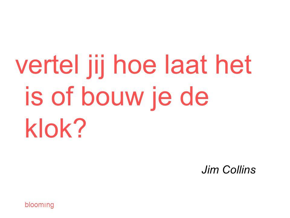 bloomıng vertel jij hoe laat het is of bouw je de klok Jim Collins