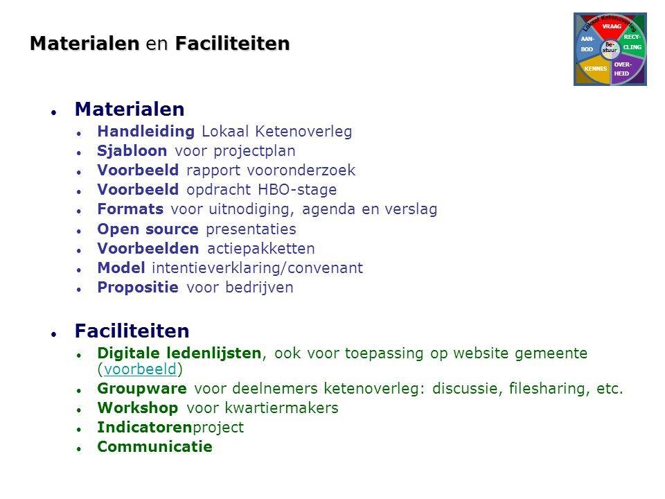 Materialen en Faciliteiten  Materialen  Handleiding Lokaal Ketenoverleg  Sjabloon voor projectplan  Voorbeeld rapport vooronderzoek  Voorbeeld op