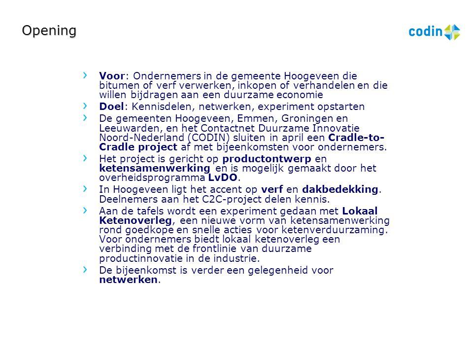 Opening Voor: Ondernemers in de gemeente Hoogeveen die bitumen of verf verwerken, inkopen of verhandelen en die willen bijdragen aan een duurzame econ