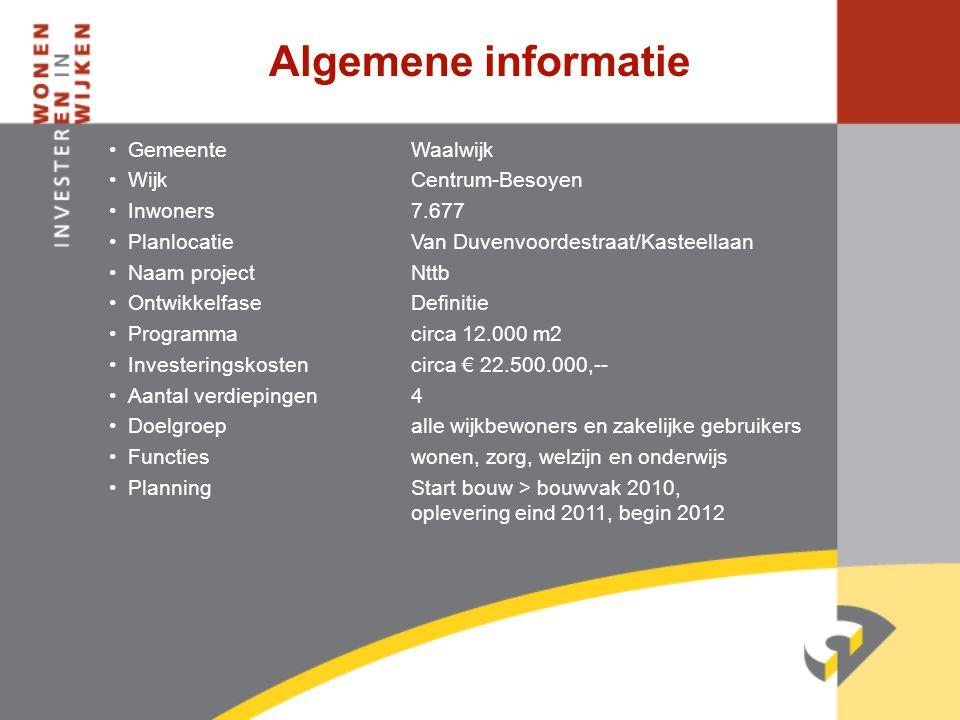 Algemene informatie •GemeenteWaalwijk •WijkCentrum-Besoyen •Inwoners7.677 •PlanlocatieVan Duvenvoordestraat/Kasteellaan •Naam projectNttb •Ontwikkelfa