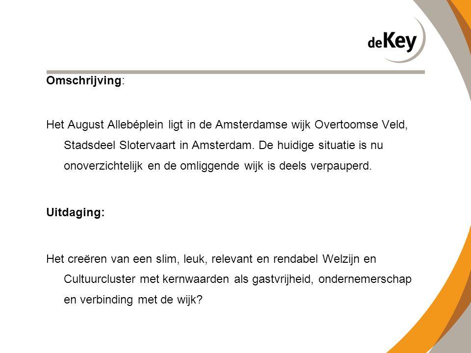 Omschrijving: Het August Allebéplein ligt in de Amsterdamse wijk Overtoomse Veld, Stadsdeel Slotervaart in Amsterdam. De huidige situatie is nu onover