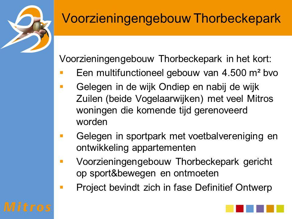 Voorzieningengebouw Thorbeckepark Voorzieningengebouw Thorbeckepark in het kort:  Een multifunctioneel gebouw van 4.500 m² bvo  Gelegen in de wijk O