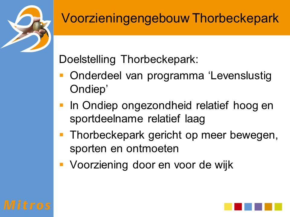 Doelstelling Thorbeckepark:  Onderdeel van programma 'Levenslustig Ondiep'  In Ondiep ongezondheid relatief hoog en sportdeelname relatief laag  Th