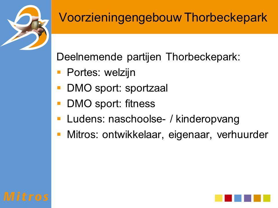 Voorzieningengebouw Thorbeckepark Deelnemende partijen Thorbeckepark:  Portes: welzijn  DMO sport: sportzaal  DMO sport: fitness  Ludens: naschool