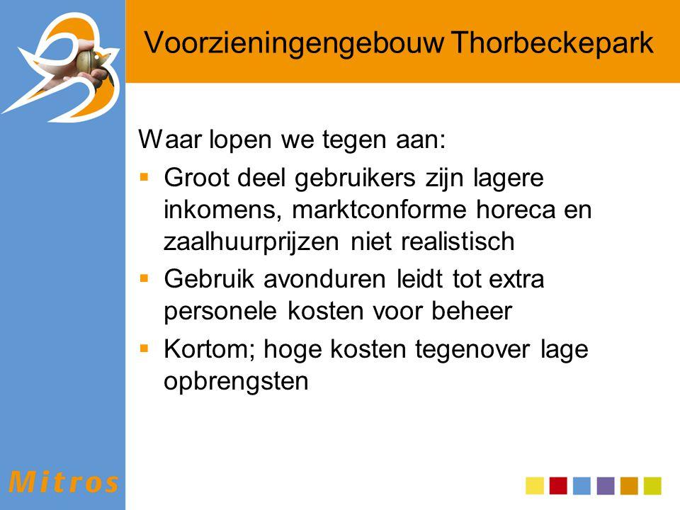 Voorzieningengebouw Thorbeckepark Waar lopen we tegen aan:  Groot deel gebruikers zijn lagere inkomens, marktconforme horeca en zaalhuurprijzen niet