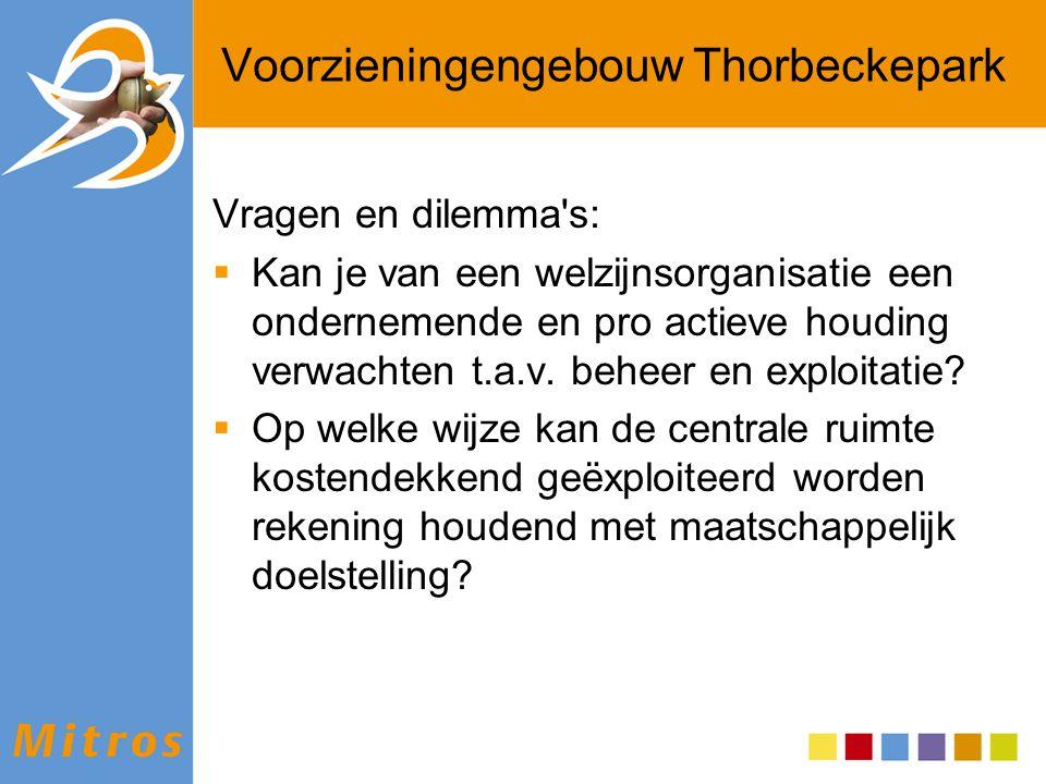 Voorzieningengebouw Thorbeckepark Vragen en dilemma's:  Kan je van een welzijnsorganisatie een ondernemende en pro actieve houding verwachten t.a.v.