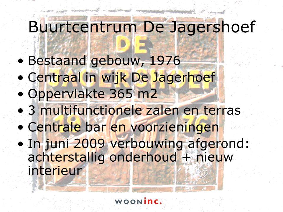 Buurtcentrum De Jagershoef •Bestaand gebouw, 1976 •Centraal in wijk De Jagerhoef •Oppervlakte 365 m2 •3 multifunctionele zalen en terras •Centrale bar