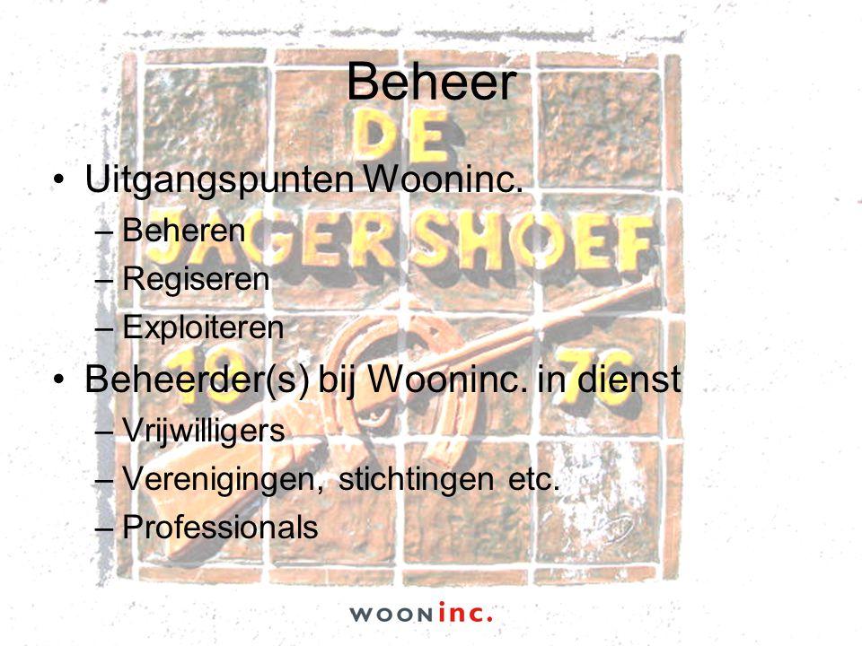 Beheer •Uitgangspunten Wooninc. –Beheren –Regiseren –Exploiteren •Beheerder(s) bij Wooninc. in dienst –Vrijwilligers –Verenigingen, stichtingen etc. –