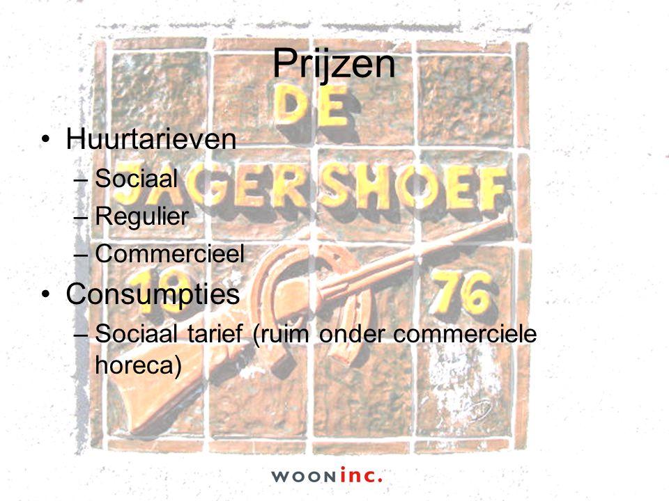 Prijzen •Huurtarieven –Sociaal –Regulier –Commercieel •Consumpties –Sociaal tarief (ruim onder commerciele horeca)