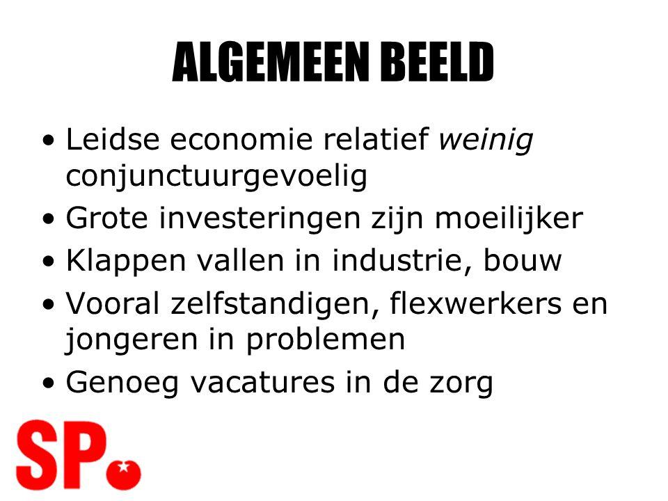 ALGEMEEN BEELD •Leidse economie relatief weinig conjunctuurgevoelig •Grote investeringen zijn moeilijker •Klappen vallen in industrie, bouw •Vooral ze