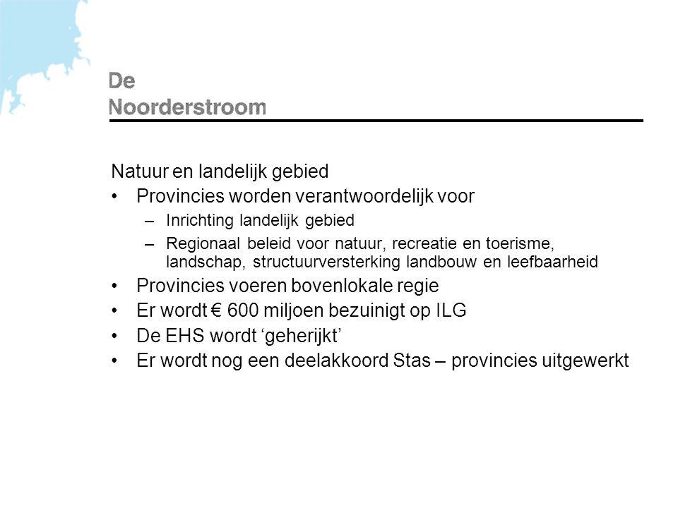 Natuur en landelijk gebied •Provincies worden verantwoordelijk voor –Inrichting landelijk gebied –Regionaal beleid voor natuur, recreatie en toerisme,