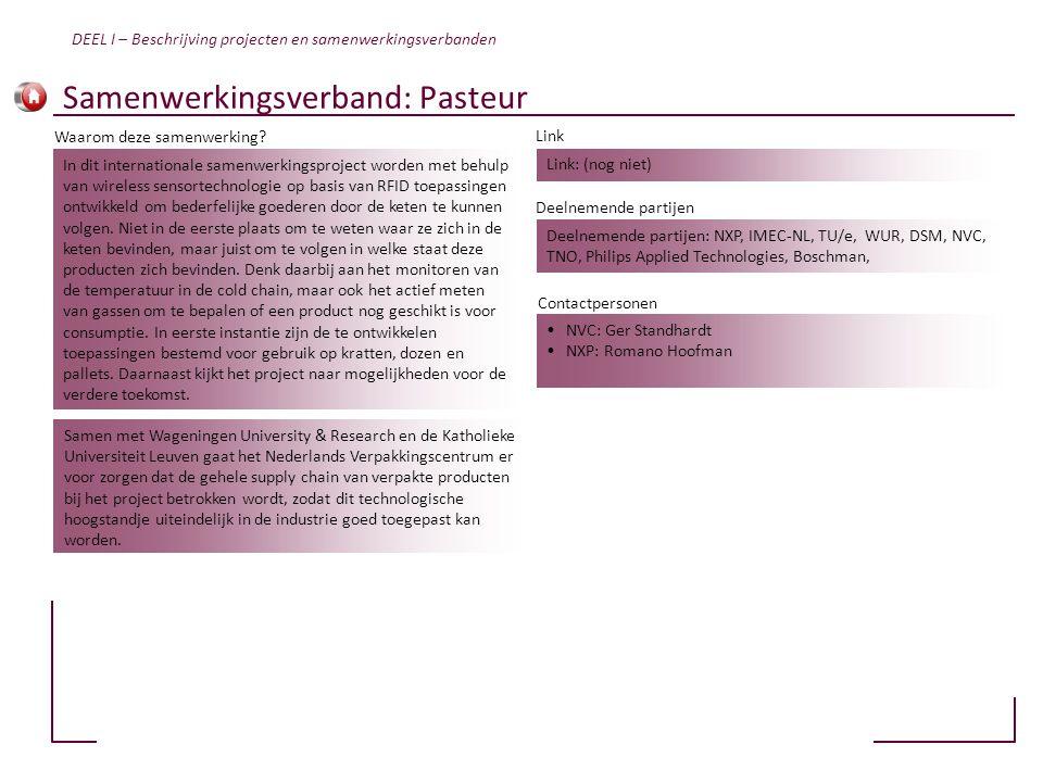 Samenwerkingsverband: Pasteur Link: (nog niet) Deelnemende partijen: NXP, IMEC-NL, TU/e, WUR, DSM, NVC, TNO, Philips Applied Technologies, Boschman, •
