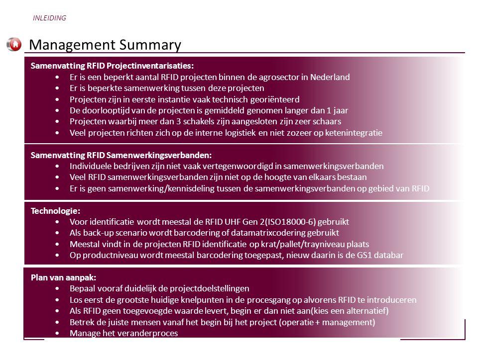 Management Summary INLEIDING Samenvatting RFID Projectinventarisaties: •Er is een beperkt aantal RFID projecten binnen de agrosector in Nederland •Er