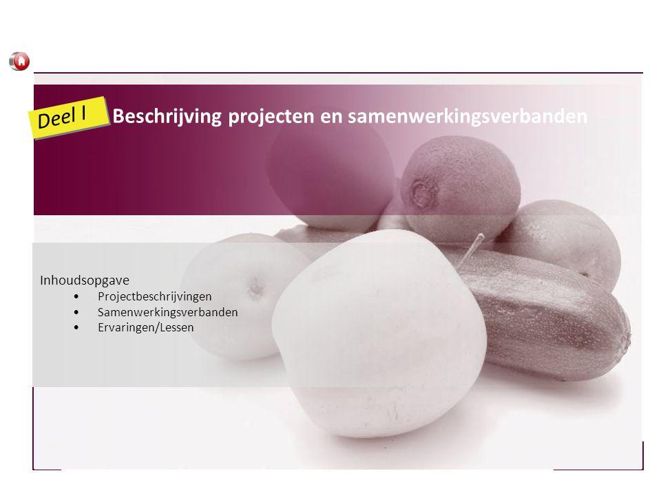 Inhoudsopgave •Projectbeschrijvingen •Samenwerkingsverbanden •Ervaringen/Lessen Beschrijving projecten en samenwerkingsverbanden Deel I