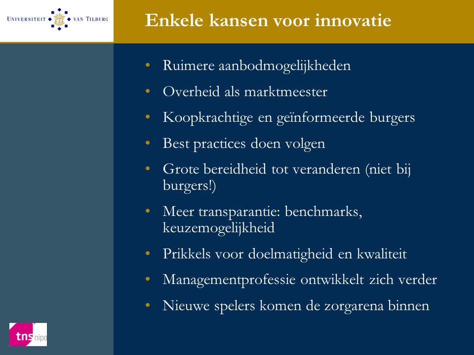 Enkele kansen voor innovatie •Ruimere aanbodmogelijkheden •Overheid als marktmeester •Koopkrachtige en geïnformeerde burgers •Best practices doen volg