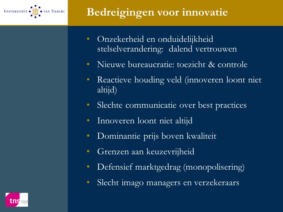 Bedreigingen voor innovatie •Onzekerheid en onduidelijkheid stelselverandering: dalend vertrouwen •Nieuwe bureaucratie: toezicht & controle •Reactieve