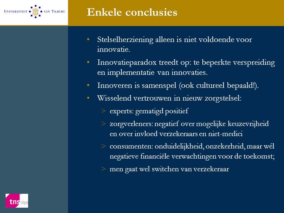 Enkele conclusies •Stelselherziening alleen is niet voldoende voor innovatie. •Innovatieparadox treedt op: te beperkte verspreiding en implementatie v