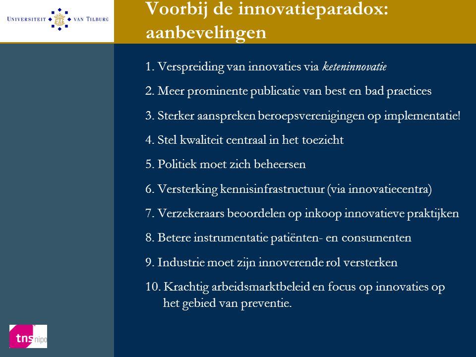 Voorbij de innovatieparadox: aanbevelingen 1. Verspreiding van innovaties via keteninnovatie 2. Meer prominente publicatie van best en bad practices 3
